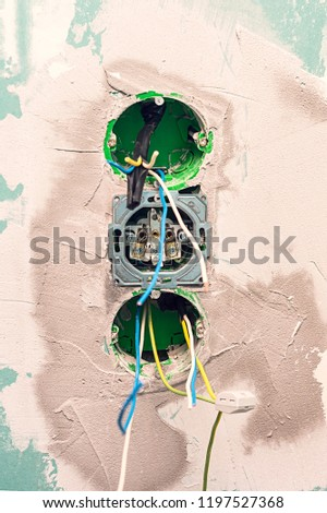 Strange Electrical Outlet Boxes Cables Ready Installation Stock Photo Edit Wiring Cloud Peadfoxcilixyz