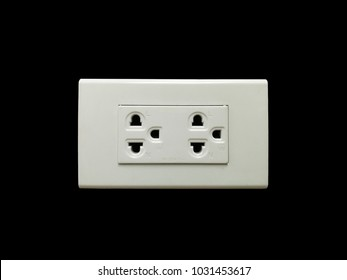 Electrical Outlet or Duplex Outlet on black background and clipping path