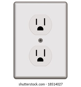 Illustration Power Outlet Isolated On White Stock Illustration ...