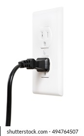 Electrical Outlet with Plug on White