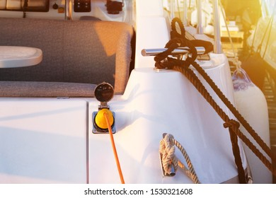 Electrical outlets for charging on boats in sea harbor background. Electrical outlets to charge ships in harbor at sunset in Croatia. Horizontal frame.