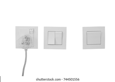 Electrical outlets and light switches in rooms Malaysia.(Isolate)