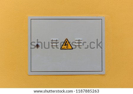 electrical panel closed fuse box on stock photo (edit now RV Fuse Box electrical panel, closed fuse box on a wall outside of a house