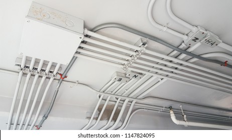 Electrical pipe and junction box on ceiling.