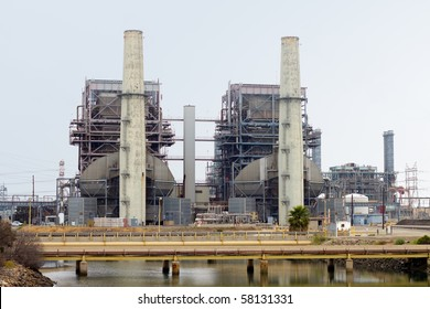 Electrical power generation plant on an overcast day.