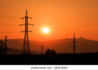 Electrical Power Lines Silhouette near Liberec city (North Bohemia, Czech Republic)