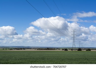 Electrical power lines and towers crossing rural South Australia, near Mannum, in the Murraylands
