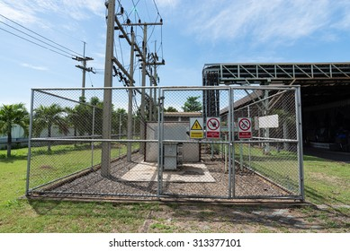 Electrical power transformer in high voltage substation.