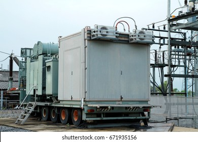 Electrical power transformer in high voltage substation.(Mobile transformer)