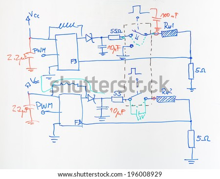 Super Electrical Scheme Hand Drawn Blue Red Stock Photo Edit Now Wiring 101 Akebretraxxcnl