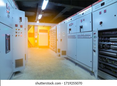 Electrical selector switch,button switch,Electrical switch gear at Low Voltage motor control center cabinet in coal power plant  factory manufacturing.