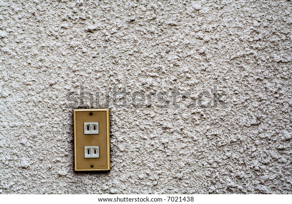 Electrical Socket on a Rough and Dirty Concrete Wall, Painted White, TExture Background, Horizontal