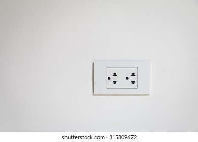 Electrical socket plug on  Wall