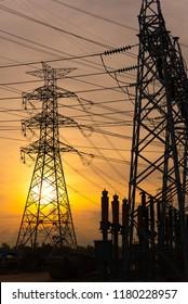 electrical substation on the sunrise
