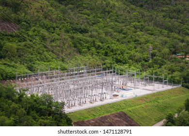 Electrical substation , Electrical substation surrounded by forests ,landscape
