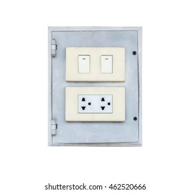 Electrical switch and plug on wall. Isolated on white background with copy space