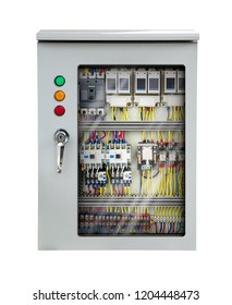 Electrical switchboard internal metal control box isolated on white background with clipping path
