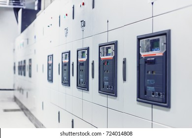Electrical switchgear, Industrial electrical switch panel. Equipments, pipes in a modern thermal power plant