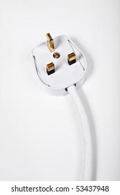 Electrical three pin plug head on white background