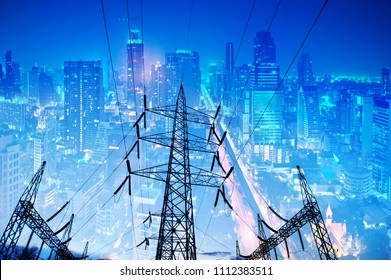 Electrical towers in the city It is an infrastructure that allows people in the city to be comfortable. Electricity is an important energy source.