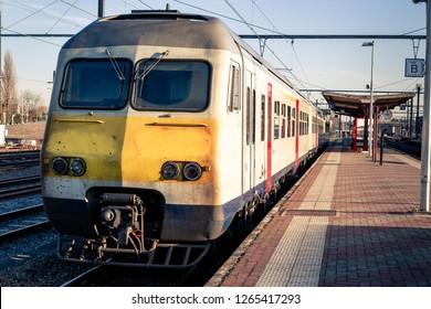 Electrical train class MS 80 of the Belgian railways (NMBS/SNCB) in the Aarschot railway station. Aarschot, Vlaams-Brabant, Flanders, Belgium