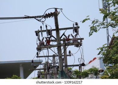 electrical tranformer on the pole