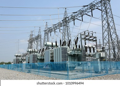 Electrical Transformer : The equipment used to raise or lower voltage, high voltage power station