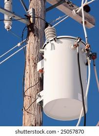electrical transformer on pole