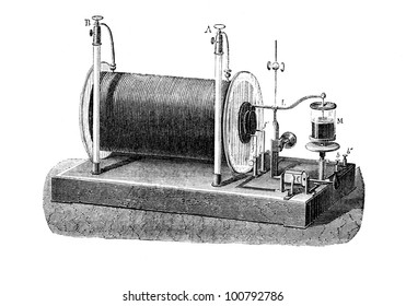 Electrical transformer used to produce high-voltage pulses from a low-voltage direct current, patented in 1851 by Heinrich Ruhmkorff. Engraving  from L'Electricite' by J. Baille, Paris-Hachette 1868.