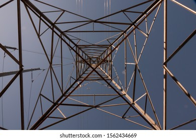 Electrical Transmission Line Tower - looking up from underneath