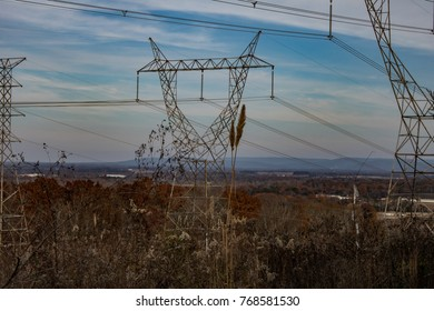 Electrical transmission lines interrupt the view. Wade Mountain. Devil's Racetrack Trail. Near Huntsville, Alabama.