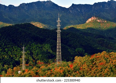 electrical transmission tower on the mountain