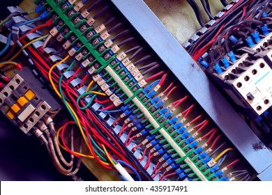 Electrical wires connecting circuit powered.