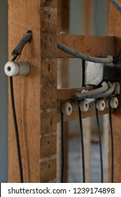 Electrical wires, Knob-and-tube, on a residential renovation site.