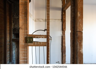 Electrical wires, Knob-and-tube, on a residential renovation site in Ontario, Canada.