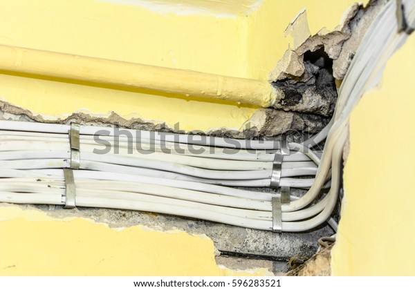 Electrical Wiring Installation On Wall Home Stock Photo ... on