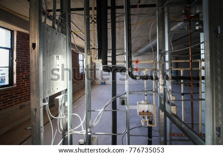 Brilliant Electrical Wiring Plumbing Piping Work Inside Stock Photo Edit Now Wiring Database Pengheclesi4X4Andersnl