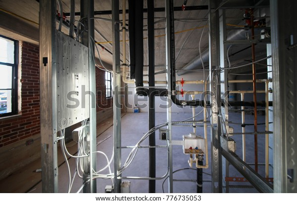 Electrical Wiring Plumbing Piping Work Inside Stock Photo ... on