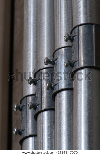 Electrical Wiring Work Steel Pipe House Stock Photo Edit Now 1595847070
