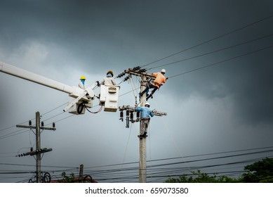 Electrician changing cord