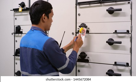 Electrician cut off electrical system and lock out for safety working  , Lock out for electrical maintenance
