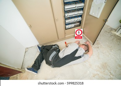 electrician electrocuted lying on the ground
