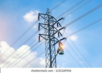 Electrician inspects and repairs the system of high voltage poles. Short circuit.Development of electricity system.Electric pole .Transmission and distribution of energy to the city.