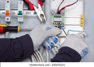Electrician installation automatic switches,electric wires in electrical shield