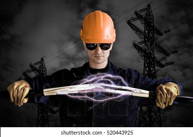 Electrician keeps cables that shoot lightning on the background of high voltage power lines