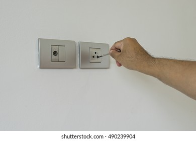 electrician test switch with screwdriver and un-safety scene - can use to display or montage on product