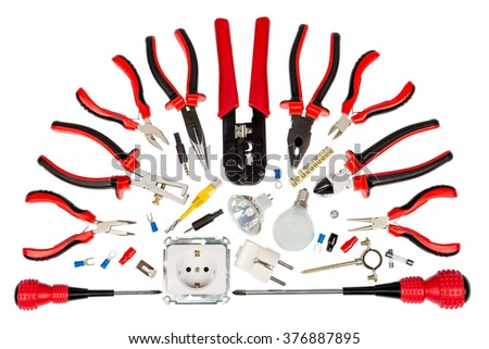 electrician tools accessories white background stock photo edit now rh shutterstock com electrical wiring tools and accessories pdf