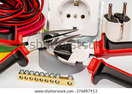Admirable Electrician Tools Accessories White Background Stock Photo Edit Now Wiring Cloud Hisonuggs Outletorg