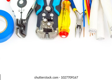 Electrician tools on white