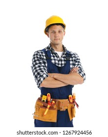 Electrician with tools wearing uniform on white background